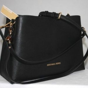 MICHAEL KORS Sofia Black Saffiano Leather Satchel